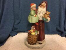"Nib Homco Porcelain Santa with Girl 9""h Figurine #5118"