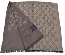 New Gucci Women's 165904 Brown Wool Silk GG Guccissima Logo Scarf