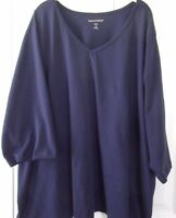 """Tunic Top Navy Blue 100% Cotton V-Neck 3/4 Sleeves 34"""" Long from Woman Within"""