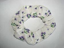 Small purple flower stem floral fabric hair scrunchie spring flowers scrunchies