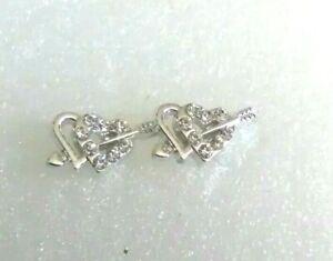 Silver Tone Diamante Double Heart and Arrow Hypoallergenic Stud Earrings