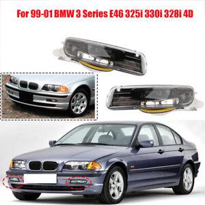 Pair of Front LH + RH Glass Fog Driving Light FOR BMW 323i 325i 328i 330i E46 4D
