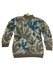 Womens Urban Outfitters Vintage Renewal Blue Brown Autumn Leaf Jumper Size M