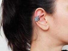 Sovats 925 Sterling Silver 1 Pcs Women Black Angle Wing Ear Cuff Clip Earrings