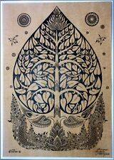 Thai traditional art of Bodhi tree by printing on sepia paper_5