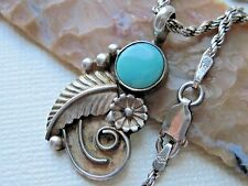 Vintage Navajo Marco Begaye Turquoise & Sterling Silver Pendant on 925 Necklace