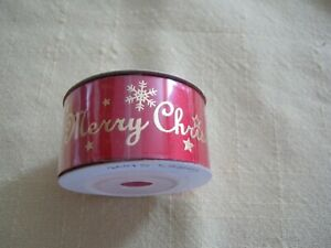 """CHRISTMAS SATIN RIBBON! RED with GOLD MERRY CHRISTMAS.  *NEW*   1"""" & 5yds"""