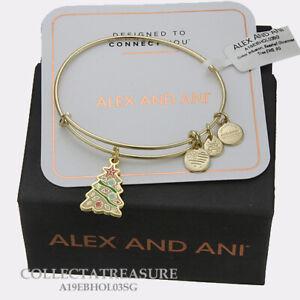 Authentic Alex and Ani Seashell Christmas Tree Shiny Gold Expandable Bangle