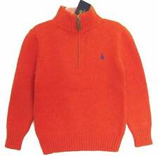 Ralph Lauren Boys Creole Orange Zip Neck Pullover Sweater (5) NWT