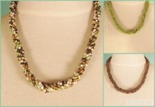 """Set of 3 18"""" Green Gold Color Twisted Rope Chain Handmade Seed Bead Necklace"""