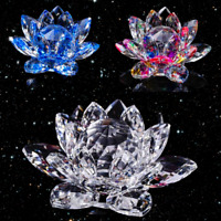 """5""""/130mm FengShui Crystal Lotus Glass Flower Paperweight Home Office Decoration"""