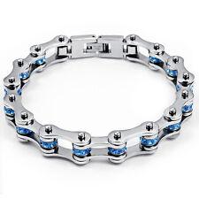 Femmes bleu cristaux cz bracelet en acier inoxydable moto vélo chaîne bracelet