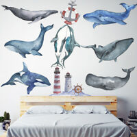 Blue Whale Dolphin Beacon PVC Vinyl Removable Nursery Mural Decal Wall Sticker