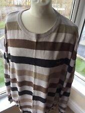 "Pierre Cardin Mens Big Stripe Jumper Sweater Brown Cream UK size 3XL XXXL 51-53"""