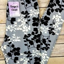 Extra PLUS Gray White Black Floral Vine Leggings Buttery Soft Curvy 16-24