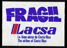 "COSTA RICA OLD LACSA ""LINEA AEREA DE COSTA RICA""  LUGGAGE LABEL CAT #CR-43 (AC28"