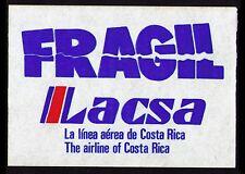 "COSTA RICA OLD LACSA ""LINEA AEREA DE COSTA RICA""  LUGGAGE LABEL CAT #CR-43 (AC28"
