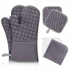 New listing Ixo 6Pcs Oven Mitts and Pot Holders, 500℉ Heat Resistant Oven Mitts with Kitche