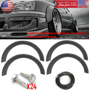 "4 Pcs F+R Arch Satin Black 2.3"" Wide Body Kit Fender Flares Extension For VW"