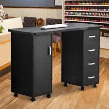 Black Manicure Nail Table Salon Beauty Wood Desk Mobile W/ Big Door & 4 Drawers