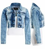 Womens Acid Blue Denim Jacket Ladies Rip Jean Cropped Jackets Size 6 8 10 12 14