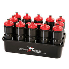 Precision Training 12 Black Water Bottles 750ml & Carrier Rugby Hockey Football