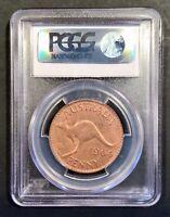 1964 Australian PreDecimal Coin QE2 Penny Perth Mint PCGS 64RB Uncirculated