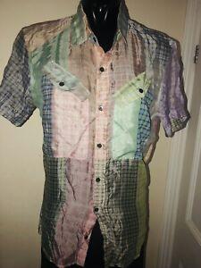 Dries Van Noten Men's Short Sleeve Silk Blend Shirt Size :46 Pastel Check
