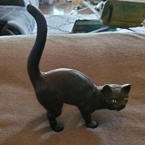 ANTIQUE 1940'S Hubley Cast Iron Black Cat Doorstop~Halloween Scaredy Cat~ NICE!!