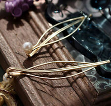 Women 2PCS Pearl Clip Pin Bobby Hair Comb Leaf Hairband Vintage Barrette Hairpin
