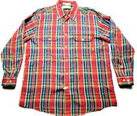 Orvis Mens Red Plaid Front Pocket Button Front Shirt Size Large