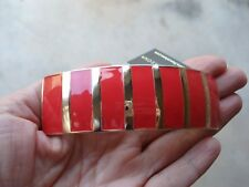 France Luxe L. Erickson Enamel Red & Gold Barrette Hair Clip Barrette