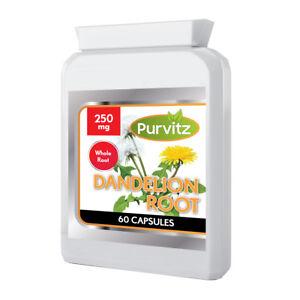 Dandelion Root 60 Capsules Strong Extract Organic Detox Liver UK Purvitz