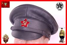 Soviet Russian early  RKKA 100% Leather NKVD Visor Cap Hat Army Military copy