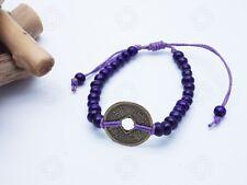 Purple Feng Shui Bracelet Bali Talisman Good Luck Chinese Coin Yoga Amulet Hand