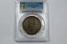 JERSEY 1813 3 SHILLINGS TOKEN .891 SILVER COIN CERTIFED PCGS AU55