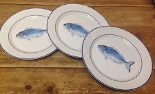 Williams Sonoma La Mer Fish Marc Lacaze Blue NEW 3 Dinner Plates Sea Ocean Beach