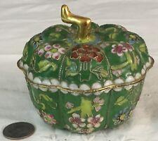 Vintage Cloisonne Enamel over Brass Floral Pumpkin Trinket Box Jar Beaded Gold