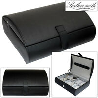 LEATHERSMITH OF LONDON GENTS GENUINE BLACK BONDED LEATHER 10 WATCH STORAGE BOX