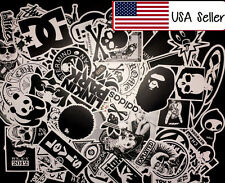 100 Black N White Skateboard Sticker bomb Laptop Luggage Decals Dope Sticker Lot