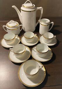 Kaffeeservice mit Golddekor, Jugendstil - Übergang zum ArtDeco - für 6 Personen