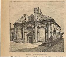 Stampa antica RIMINI veduta del Tempio Malatestiano Romagna 1899 Old print