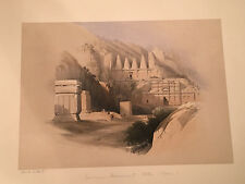 Hand-Colored Litho on Card: PETRA  Deluxe Edition of David Roberts The Holy Land
