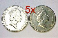 🇦🇺5x 1993 Australian 10 Cent Coins Low Mintage📮FREE Postage
