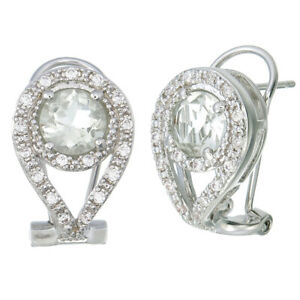 1.50 cttw Green Amethyst Earrings in Brass with Rhodium Plating Round Shape
