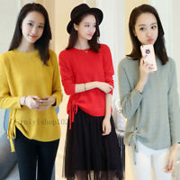 New Womens Casual Loose Crew Neck Pullover Jumper Knit Sweater Shirt Blouse Tops