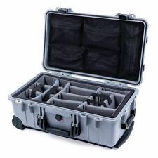 Silver & Black Pelican 1510 case with grey dividers & mesh lid organizer.