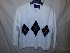 Liz Claiborne Sport Petite M Argyle V-neck Sweater White Black Diamonds NWOT