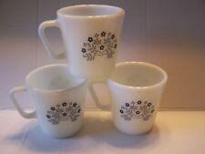Vintage PYREX 3 Milk Glass Mug Cup set, Summer Impression blue berry flower