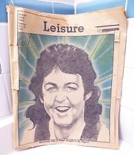 RARE 1977 PAUL MCCARTNEY ARTICLE WINGS STRUGGLE TO FLY - DAYTON OH LEISURE MAG
